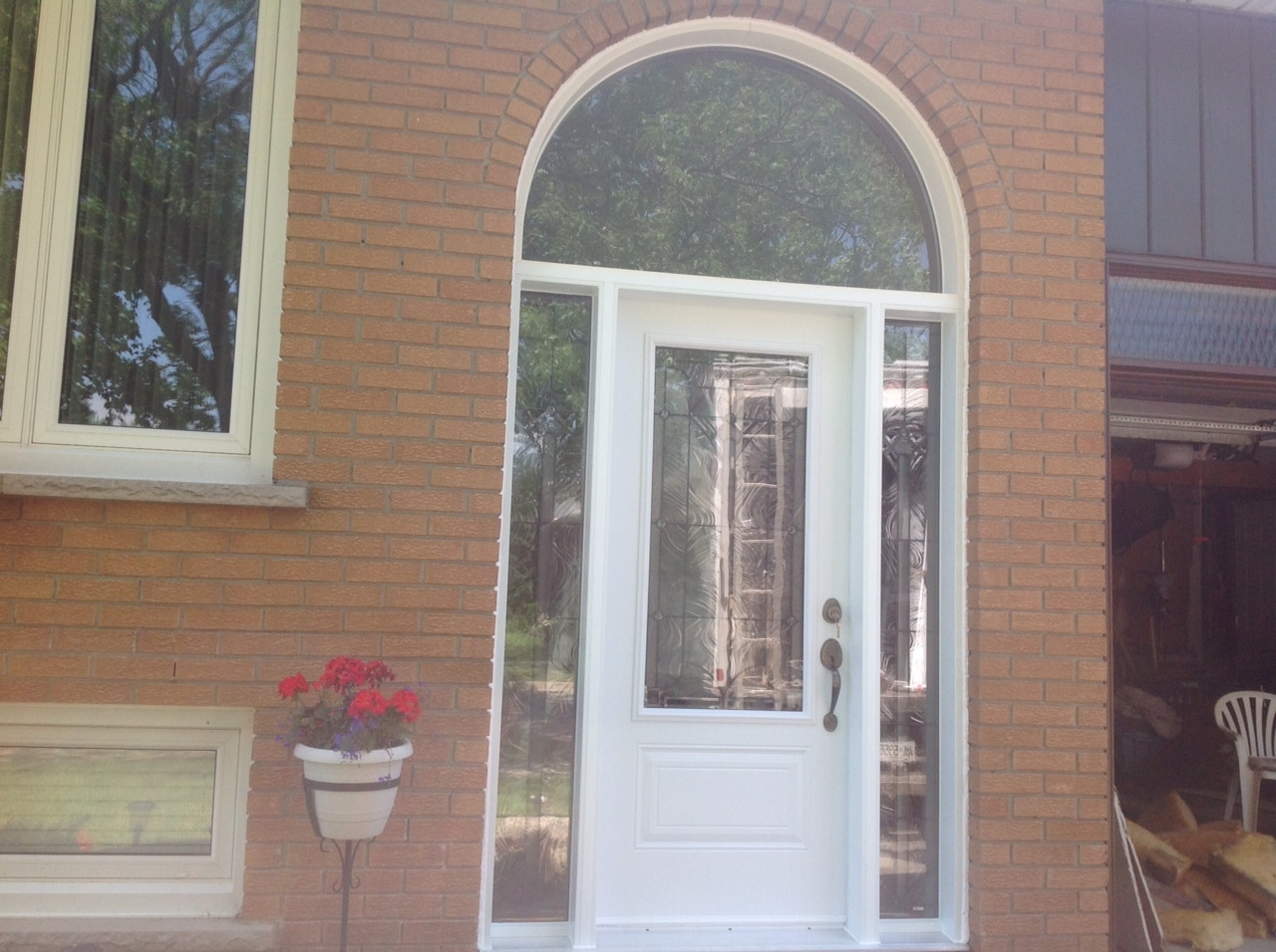 Steel Door with Sidelite and Half Round Transom